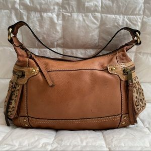 Fossil Cheetah Print Brown Leather Shoulder Purse
